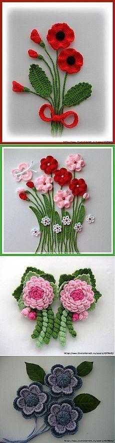 КРАСИВЫЕ ЦВЕТЫ – МНОГО ИДЕЙ И СХЕМ. #irishcrochetflowers