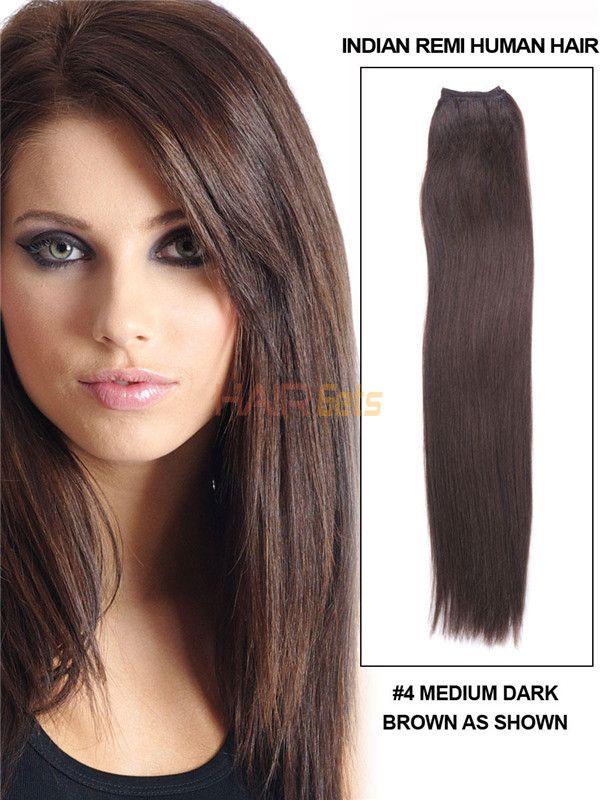 Silky Straight Virgin Indian Remy Hair Extensions Medium Brown4