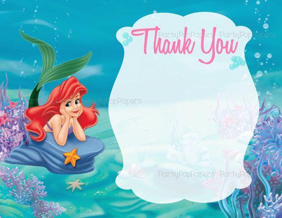 mermaid thank you card-digital as Ariel thank you card Little mermaid Ariel thank you card princess Ariel thank you card