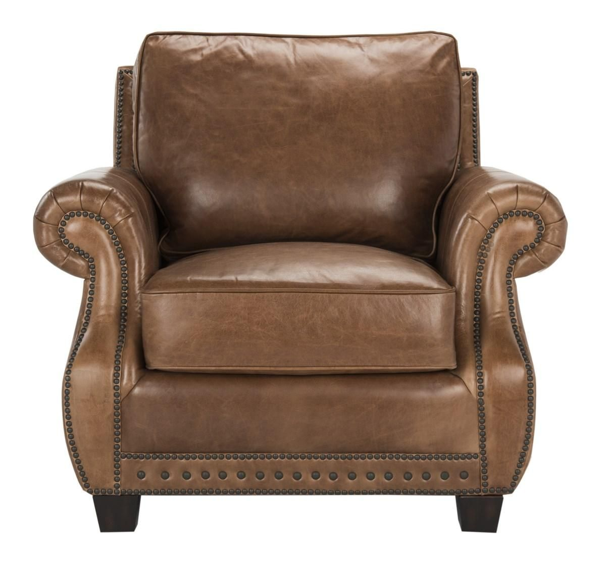 Traditional Top Grain Leather Nailhead Armchair- Safavieh ...