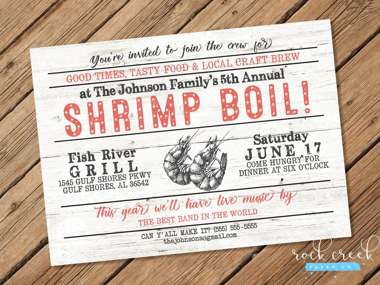 Shrimp Boil Invitation, Low Country Boil, Seafood Boil, Cajun ...