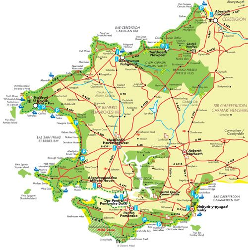 Map Of Pembrokeshire Map of Pembrokeshire Coast National Park | Cymru | Pembrokeshire  Map Of Pembrokeshire