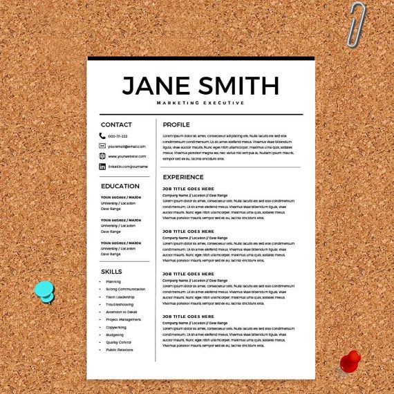 Resume for Microsoft Word - Minimal Resume Template - CV Template