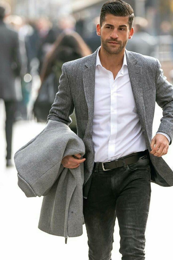 White shirt, black jeans and grey blazer — Troy needs a grey