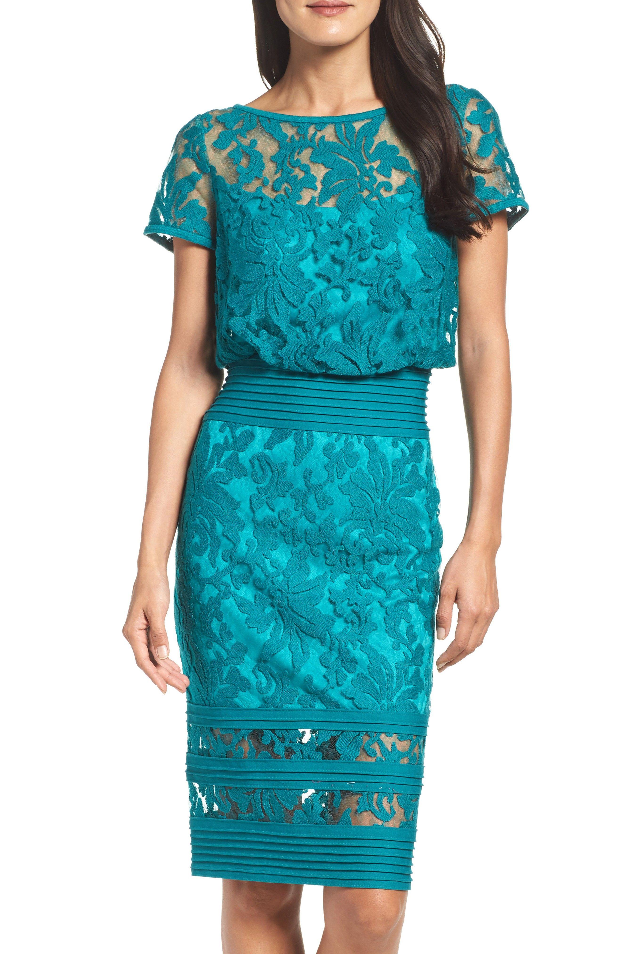 New Tadashi Shoji Embroidered Blouson Sheath Dress (Regular Petite ...