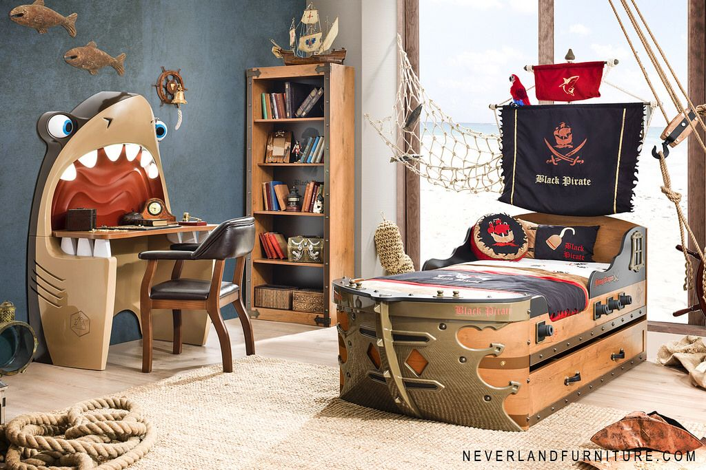 Sea Hardy Black Pirate Bed At Neverland Furniture For Girls And Boys - Kids pirate bedroom furniture