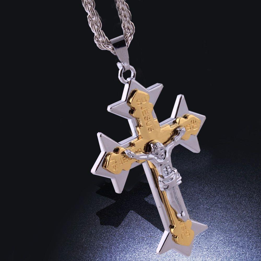cross pendant jewelry silver plated jesus pendant necklace men