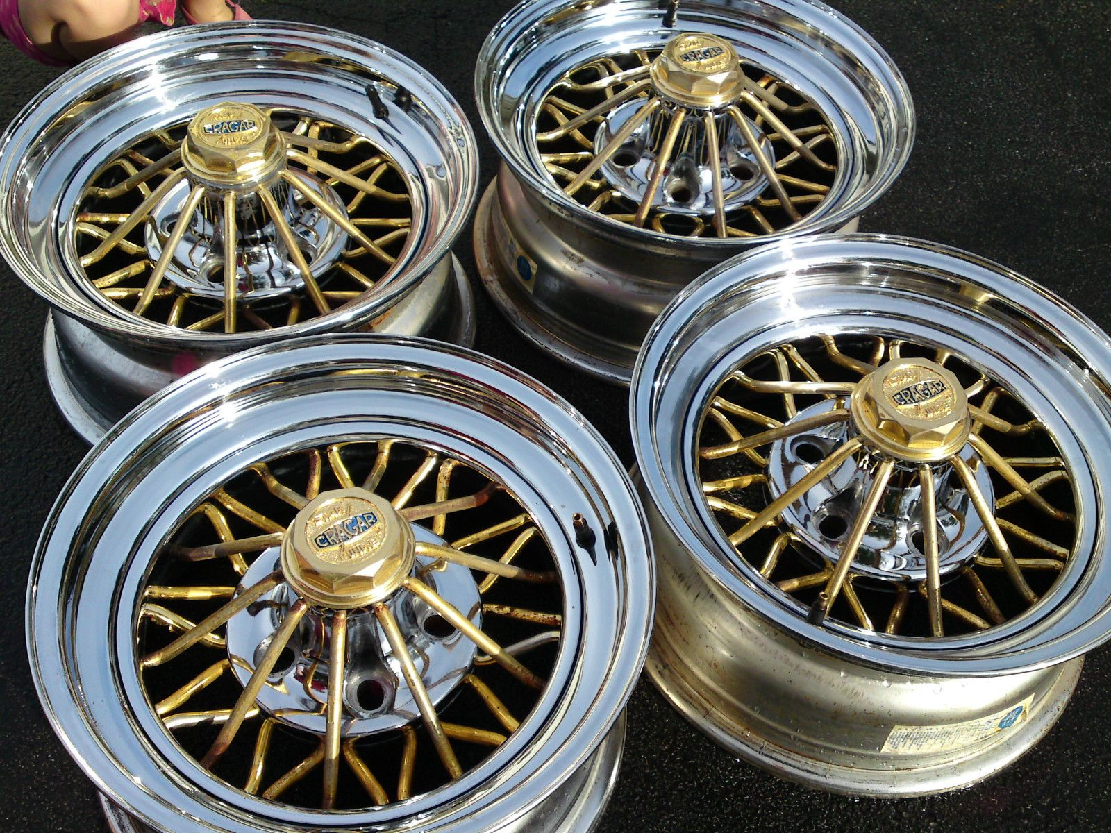Cragar Rims (Pre-owned 30 Spoke Gold & Chrome Star Wire ...