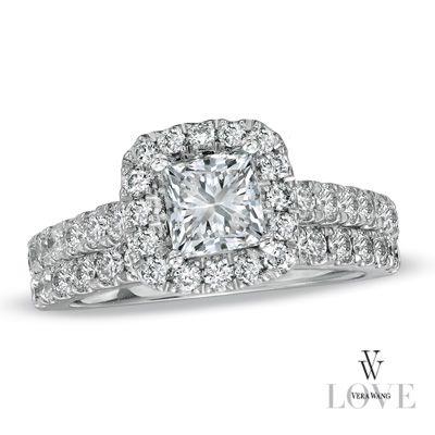 Genial Vera Wang LOVE Collection 2 CT. T.W. Princess Cut Diamond Frame Bridal Set  In