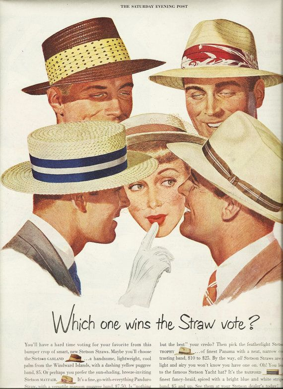 50s Wall Art Magazine Ad 1950 Stetson Hats and by OldPaperShop ... 6bec26da340