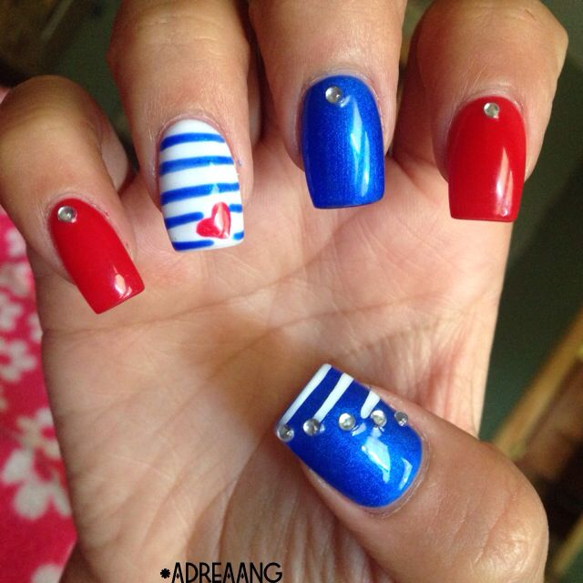 Acrylic nails  Nail designs  Simple designs Fourth of July nails red white and blue