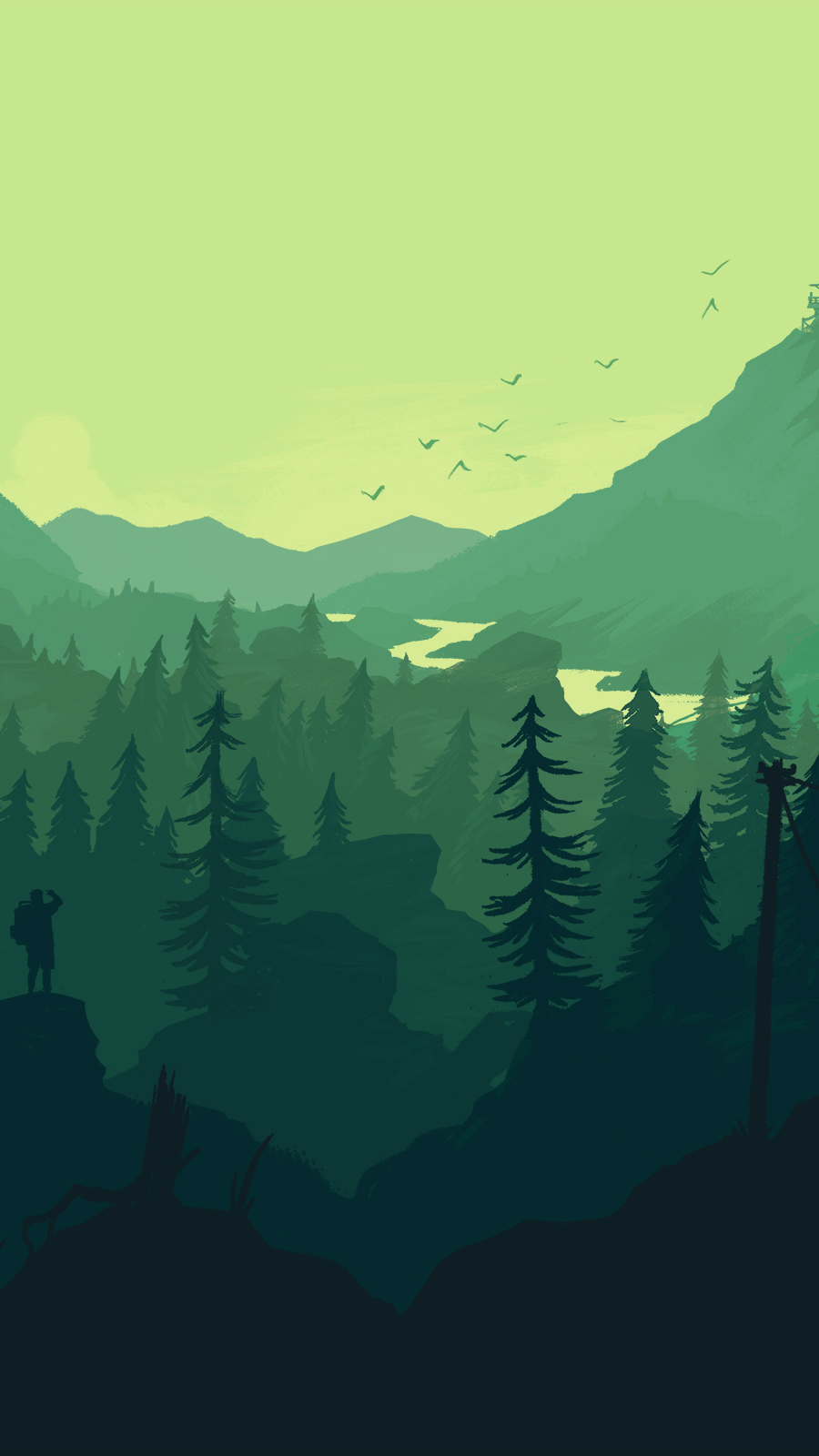 Firewatch Wallpaper Blue Google Search Art Wallpaper Scenery Wallpaper Minimalist Wallpaper