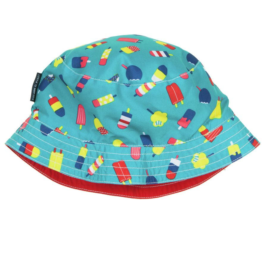Reversible Kids Sunhat, Two hats in one! This practical reversible hat features our ice cream print on one side and plain red on the other. Perfect to mix and match with our swimwear collection.