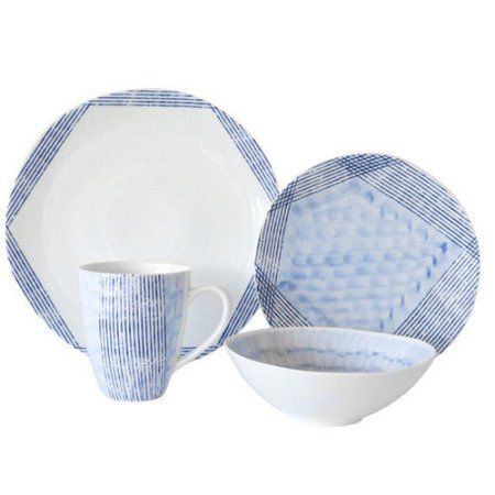 Over and Back Waterfall 16 Piece Dinnerware Set  sc 1 st  Pinterest & Over and Back Waterfall 16 Piece Dinnerware Set | Blue and white ...