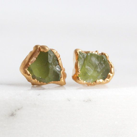 stud peridot earrings gold jewellery thumb oval stone coloured white