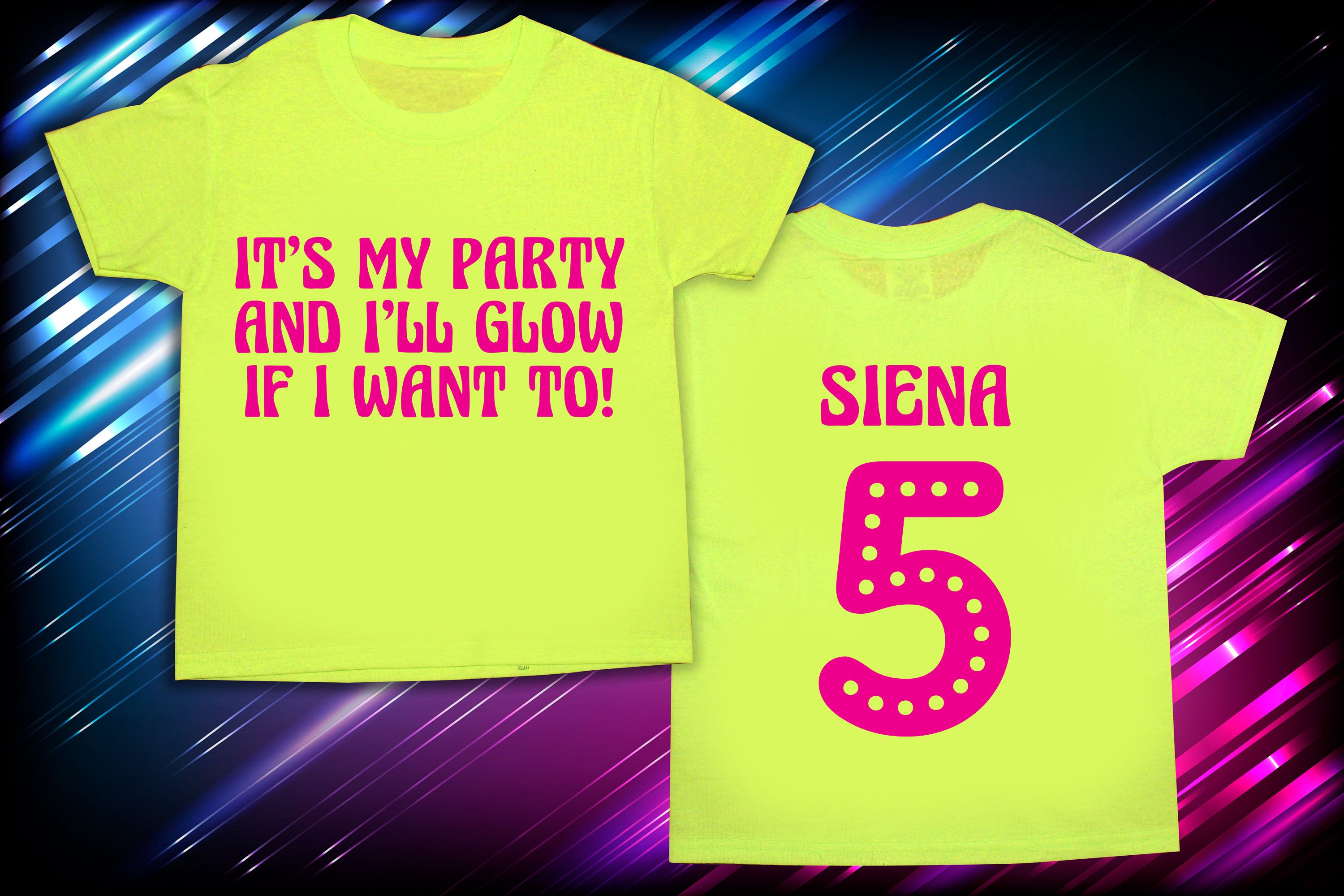 Its My Party And Ill Glow If I Want To Shirt Birthday Boy Girl Blacklight Glowparty