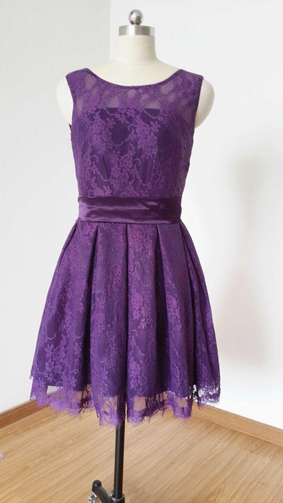 2017 A Line Dark Purple Lace Short Bridesmaid Dress