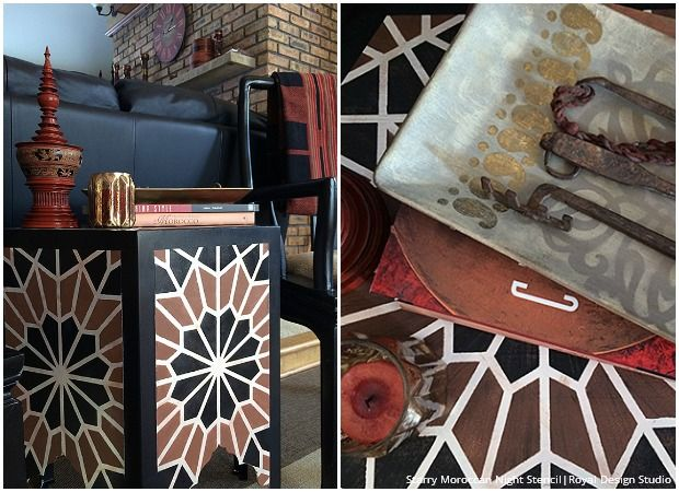 Merveilleux DIY Tutorial   Stenciled Moroccan Inlaid Table With Geometric Moroccan  Stencils By Royal Design Studio