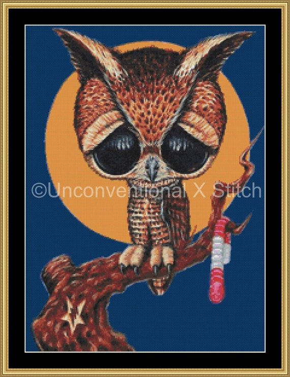 Night shift owl cross stitch pattern  Licensed by UnconventionalX