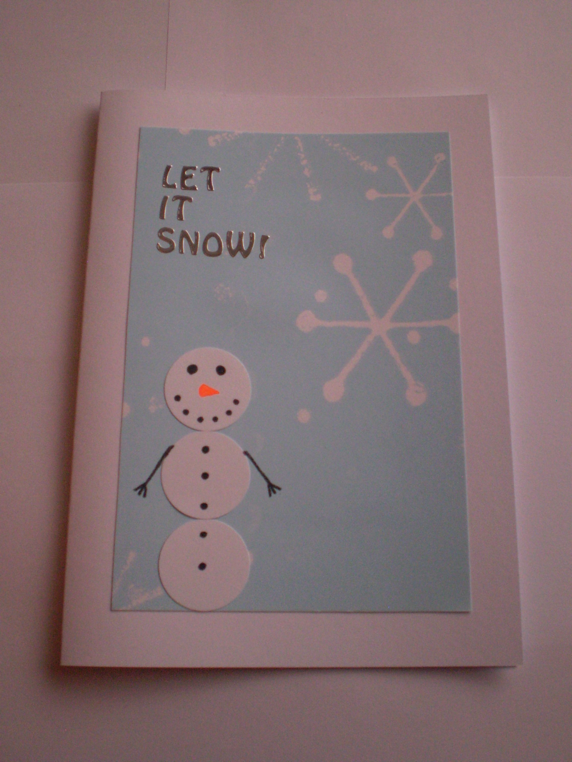Craft Ideas For Christmas Cards Part - 46: Let It Snow Snowman With Snowflakes Christmas Card - Christmas Card Craft  Ideas Homemade Diy