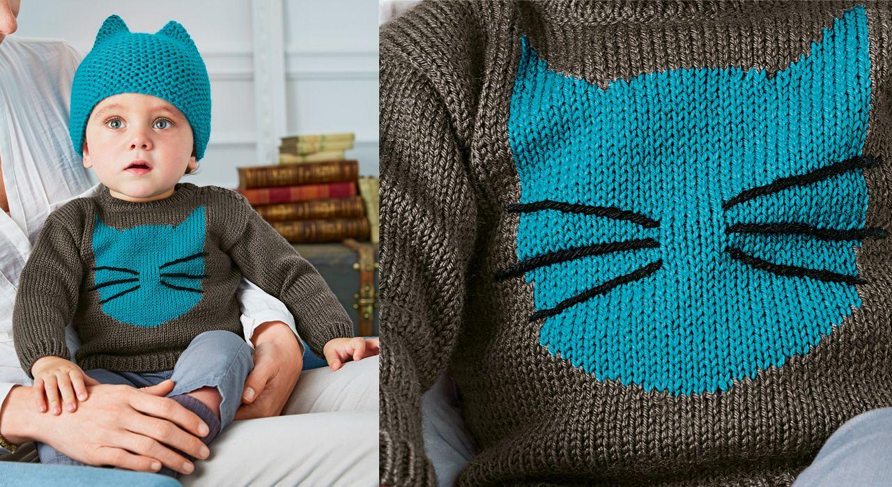 produits de qualité emballage élégant et robuste nouveau style et luxe Le pull layette chat 2   CHATS écharpes, gants, bonnets ...