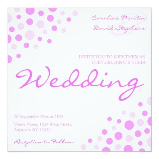 Invitation Formats Modern Pink White Spots Marriage Wedding Invitation  Pinterest .