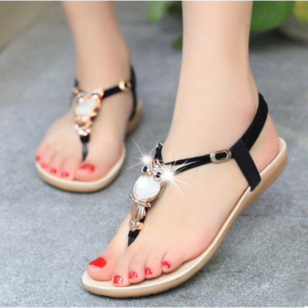 29b3cd83ab667d Lady Flat Sandal T-strap Thong Flip Flops Shoe Summer Sandals Comfortable  Non-Slip