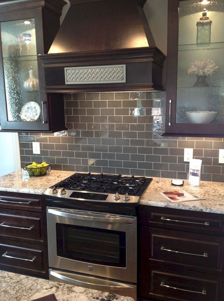 Two Tone Kitchen Cabinets Ideas Concept With Modern Door Design And Painted With Dark Brown Kitchen Cabinets Brown Kitchen Cabinets Dark Wood Kitchen Cabinets