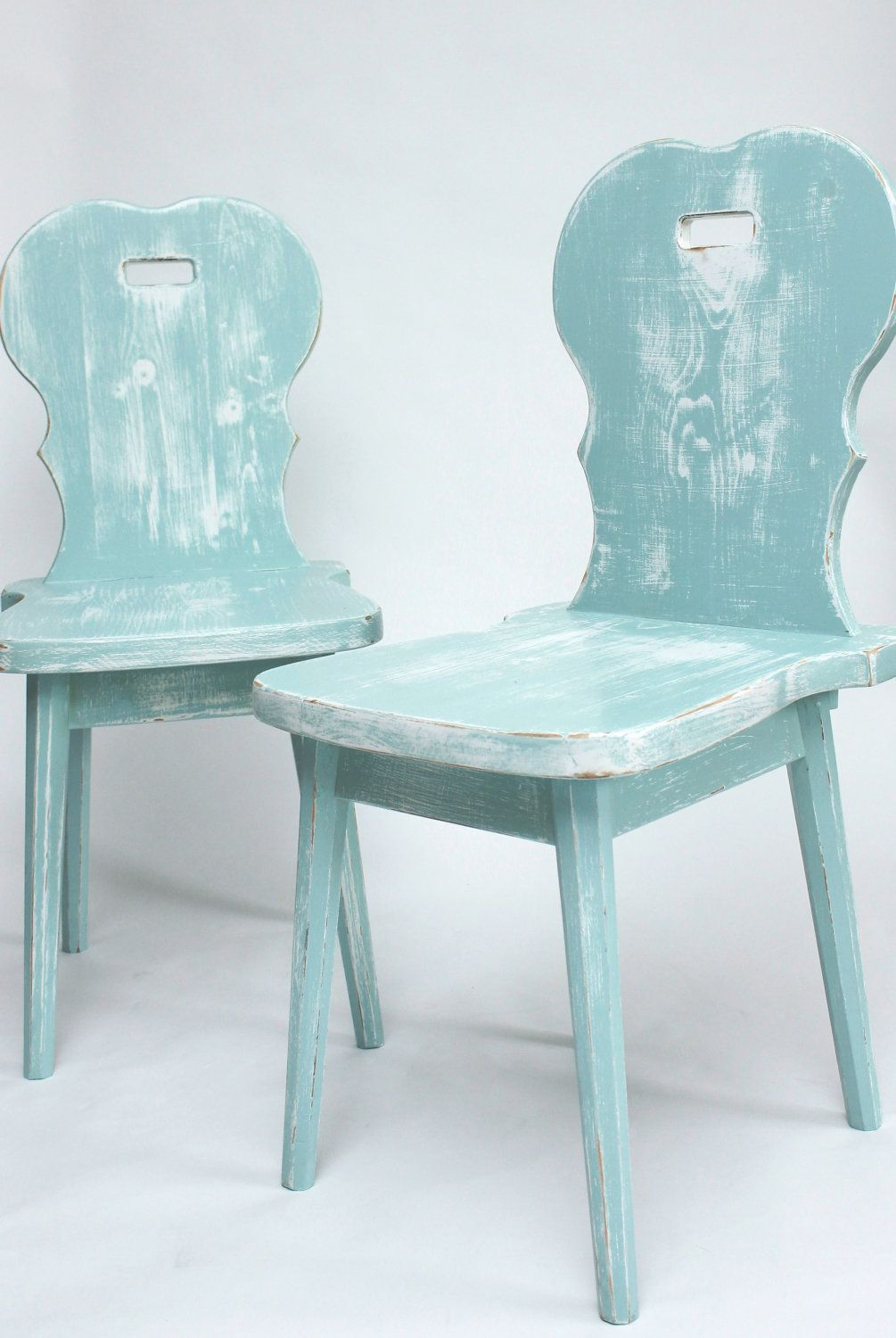 Distressed Cottage Style Wooden Chairs Seafoam by