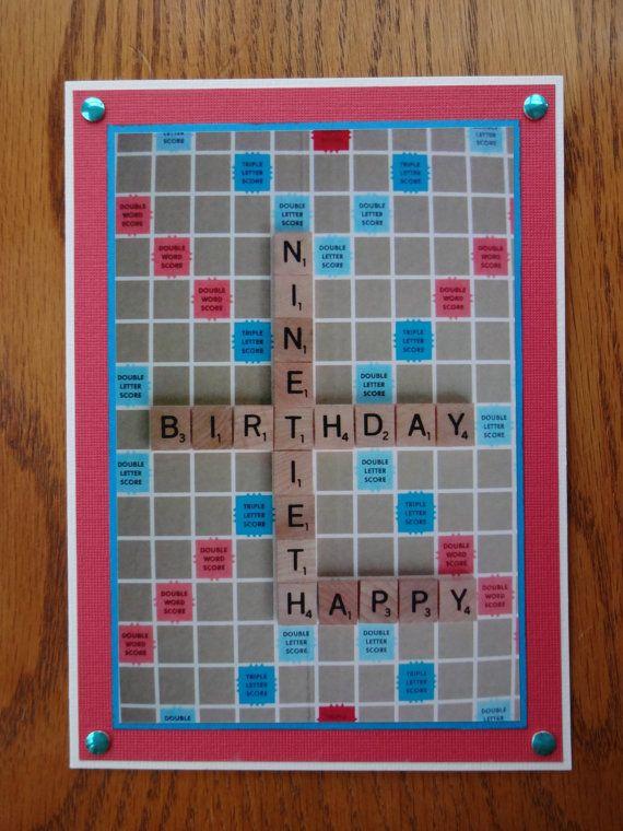 Scrabble Themed 90th Birthday Card 400 Via Etsy