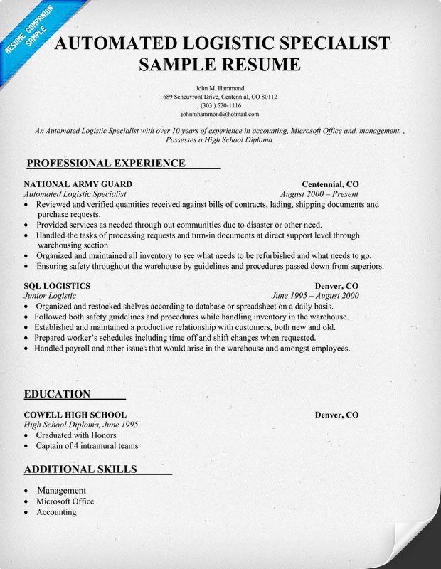 Logistic Specialist Resume Warehouse Logistics Sample Mos Automated