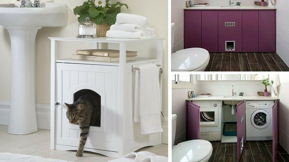 5 solutions pour cacher la litière de son chat | Petit meuble rangement, Agencement buanderie et ...