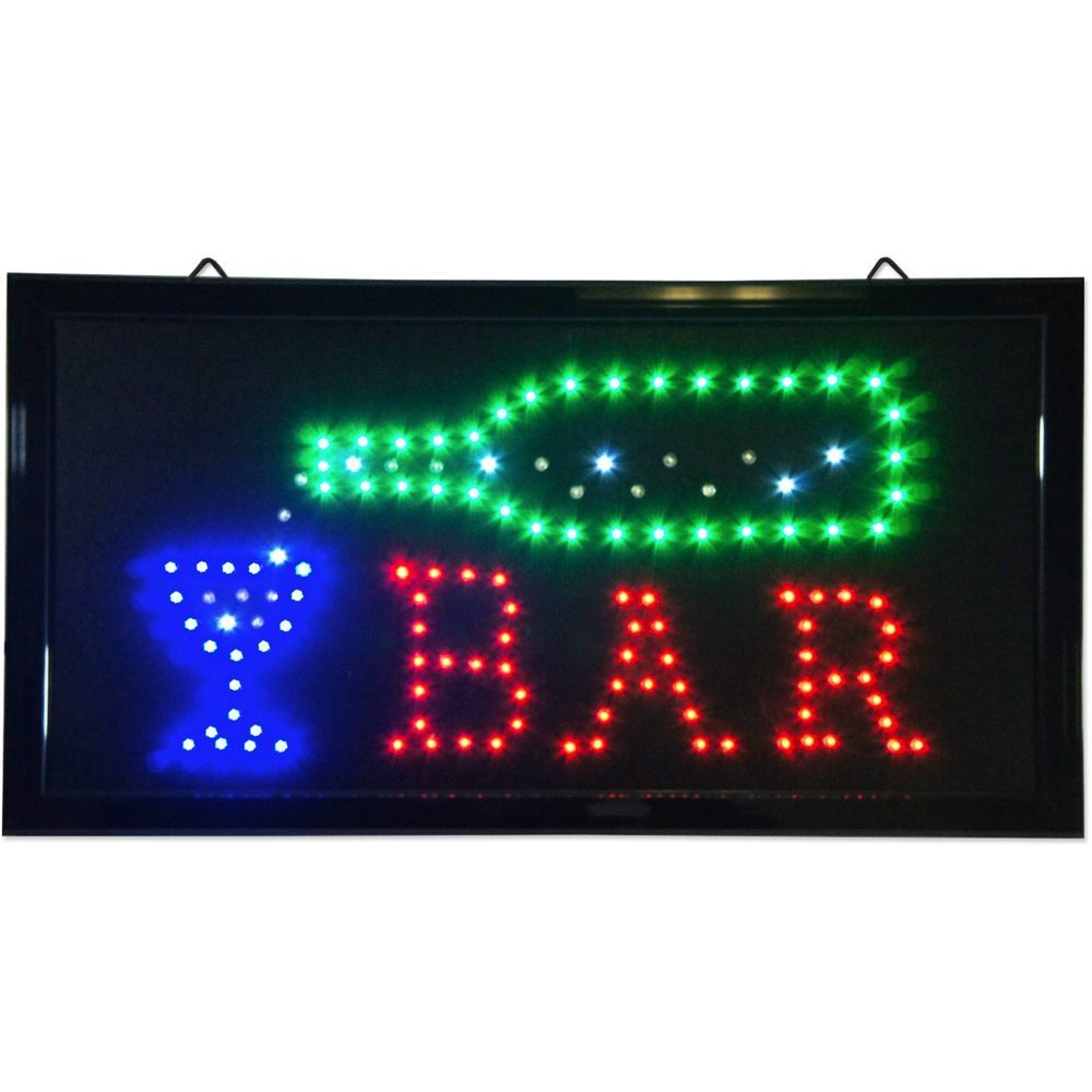 Animated LED Bar Sign 19 x 10 light pub Beer Bottle neon