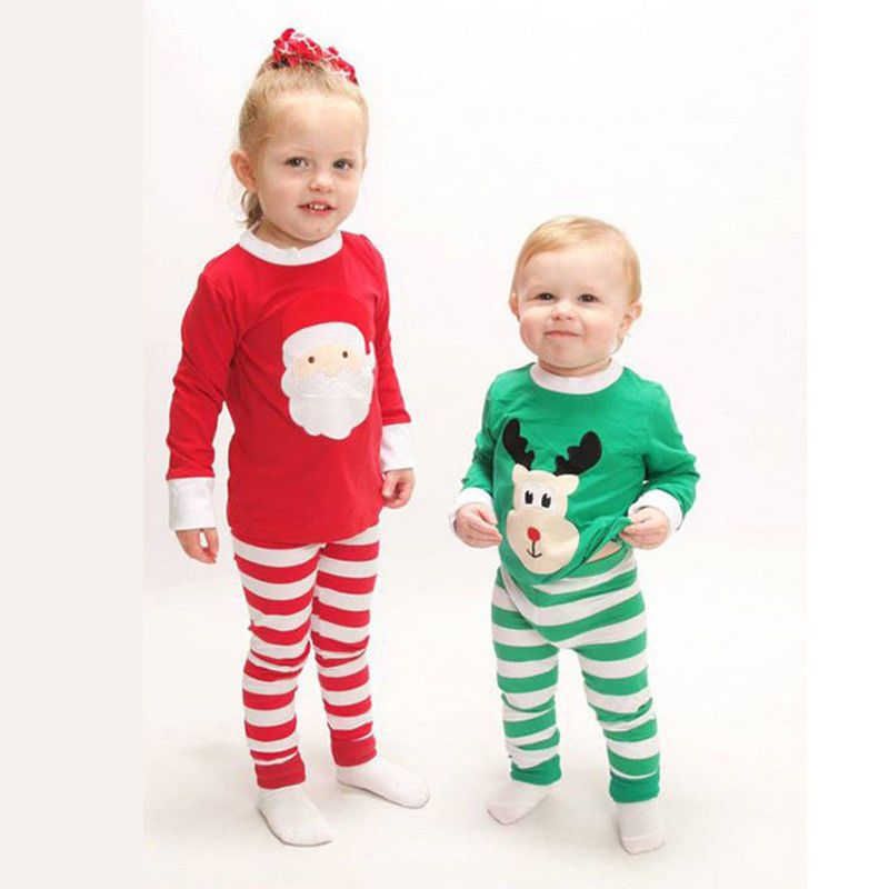 Christmas Santa Moose Brother Sister Boys Girls Matching Striped ...