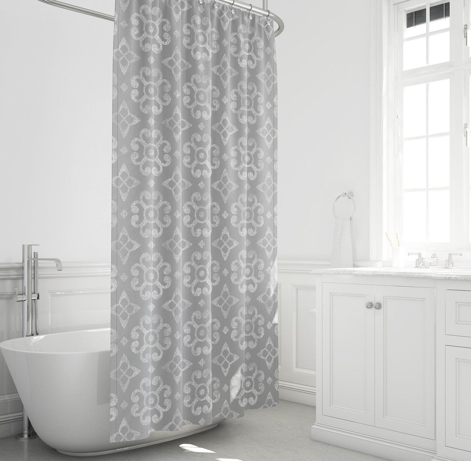 Farmhouse shower curtain gray and white bathroom decor