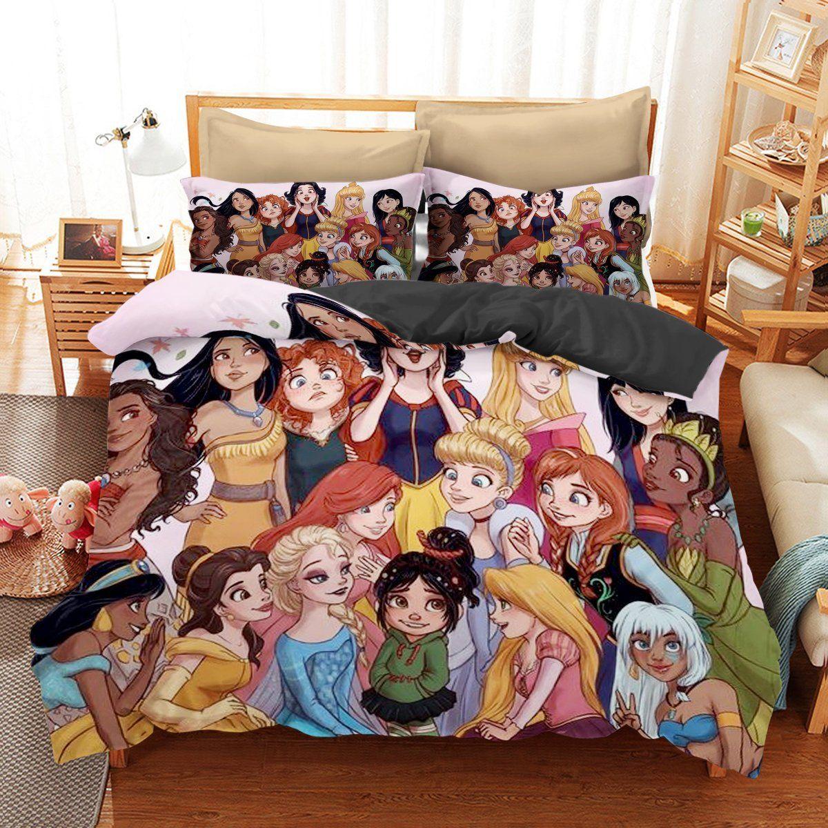 Bedding set princess of disney cartoon funny gift idea
