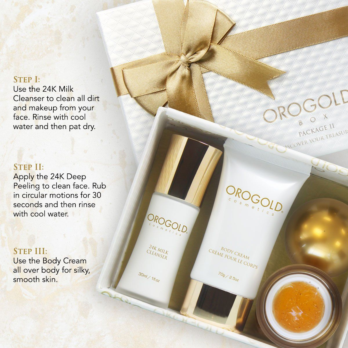 Orogold 24k Gold Luxury Skincare Kit 2 Holiday Gift Set For Women Facial Care Set With Deep Peeling Gel Gold Facial Kit Orogold Cosmetics Gift Sets For Women