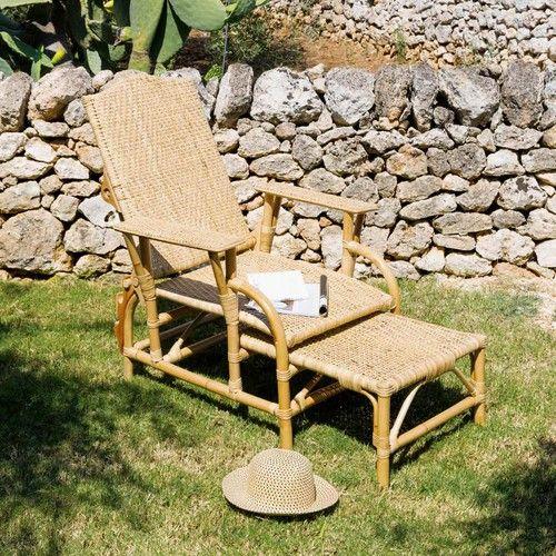 jardin terrasse chaise longue rotin