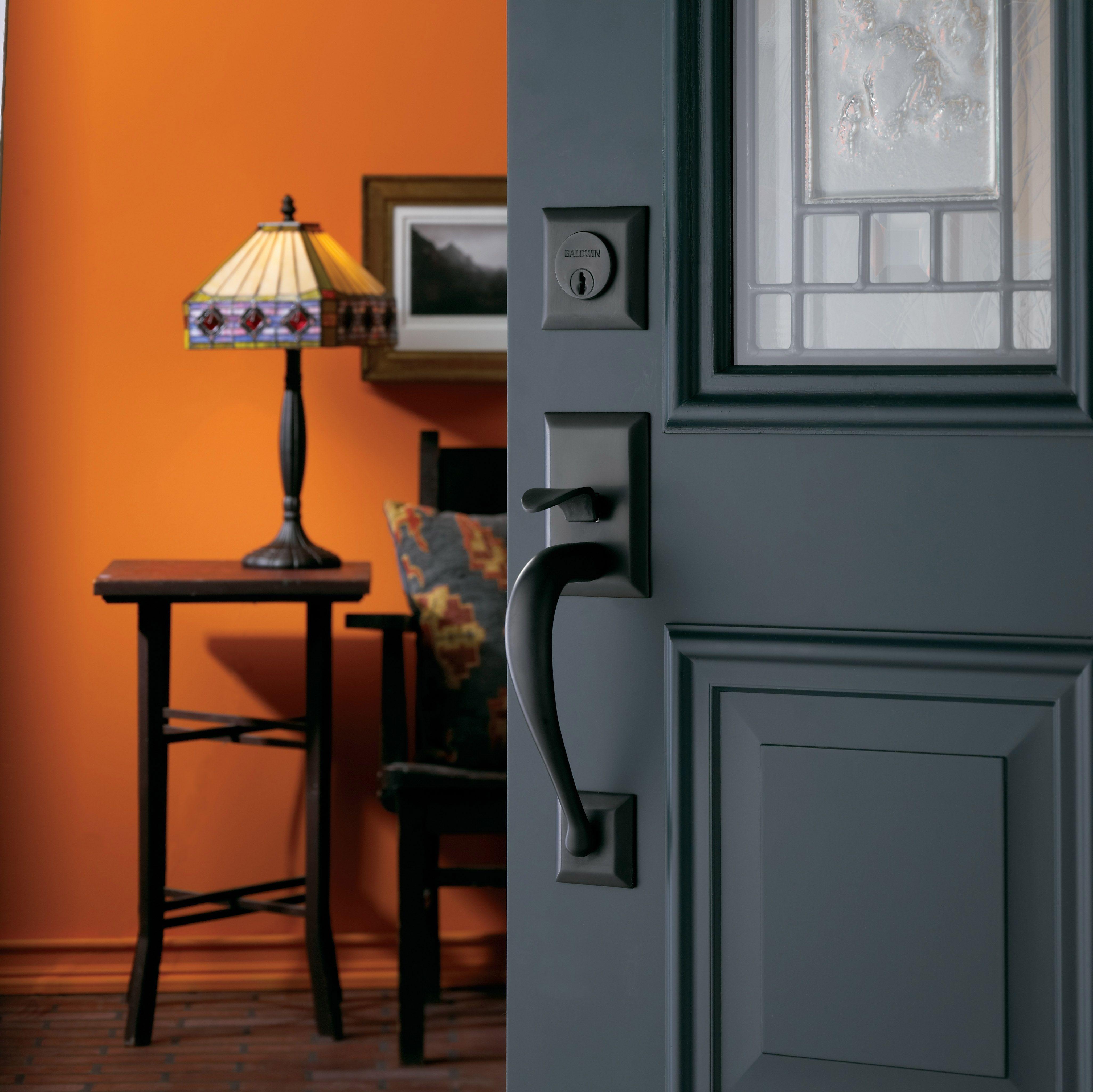 Baldwin Satin Black Entrance Handle 6571 190 Home Frontdoor