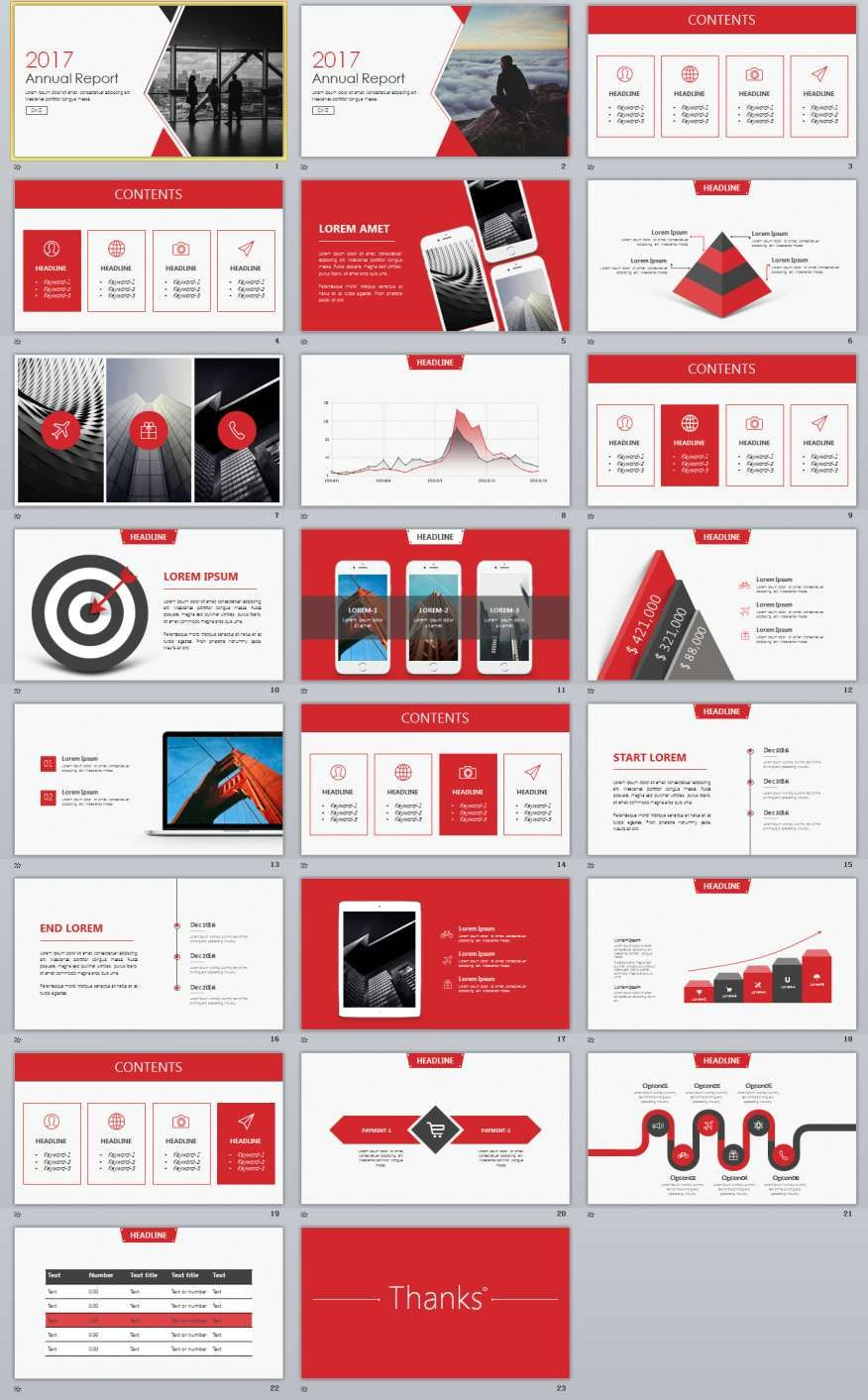 Red Annual Report PowerPoint Templates  Annual Reports Templates