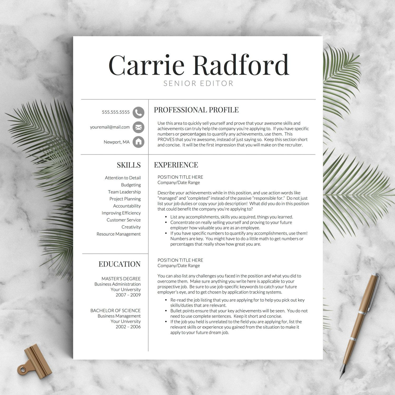 Resume Template | Professional Resume Template | CV Template for ...