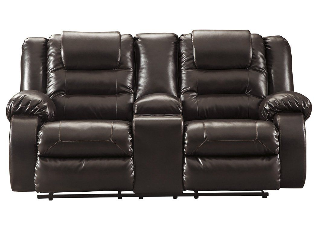 Signature Design By Ashley 7930794 Vacherie Reclining Loveseat With Console Chocolate We Do Ho Love Seat Leather Reclining Loveseat Power Reclining Loveseat