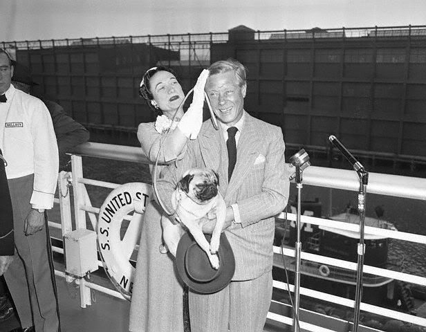New York, New York: Pier 96. SS United States Sails. Duke And Duchess Of Windsor. Shot shows the Duchess fixing the Duke's hair as they are about to sail for Paris.May 22, 1953.