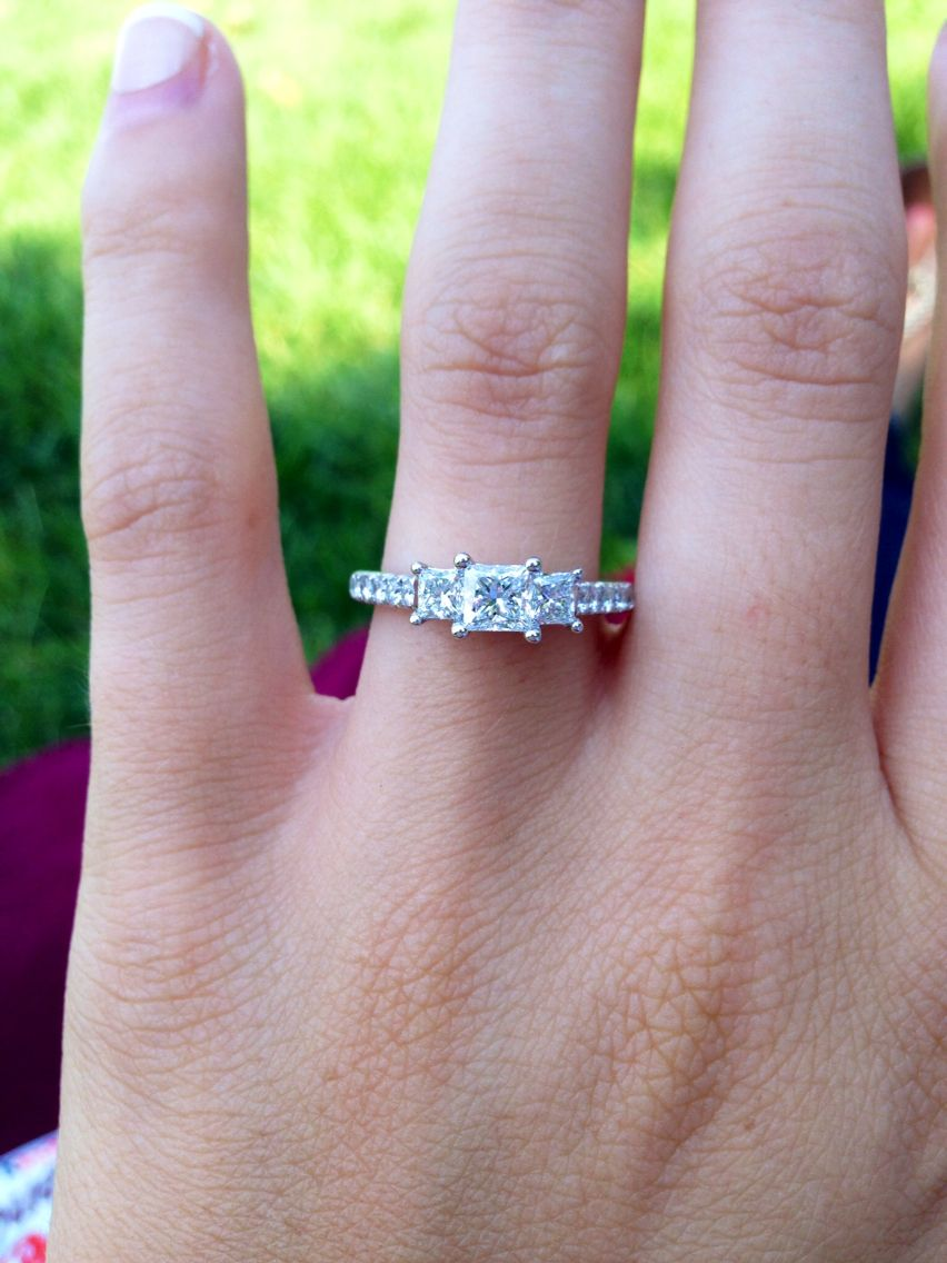 Princess Cut  Past Present Future Engagement Ring  Zales  Three Stone Engagement  Ring