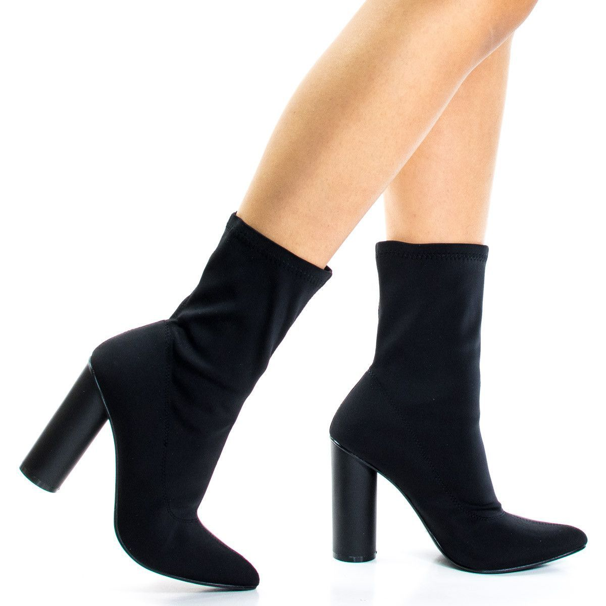 Pointed Toe Ankle booties W Stretchy Upper & Rounded Cylinder Block Heel