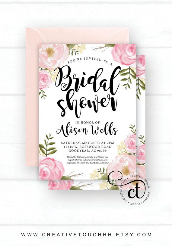 Bridal Shower Invitation Invite Idea Themes Blush Spring Tea Party