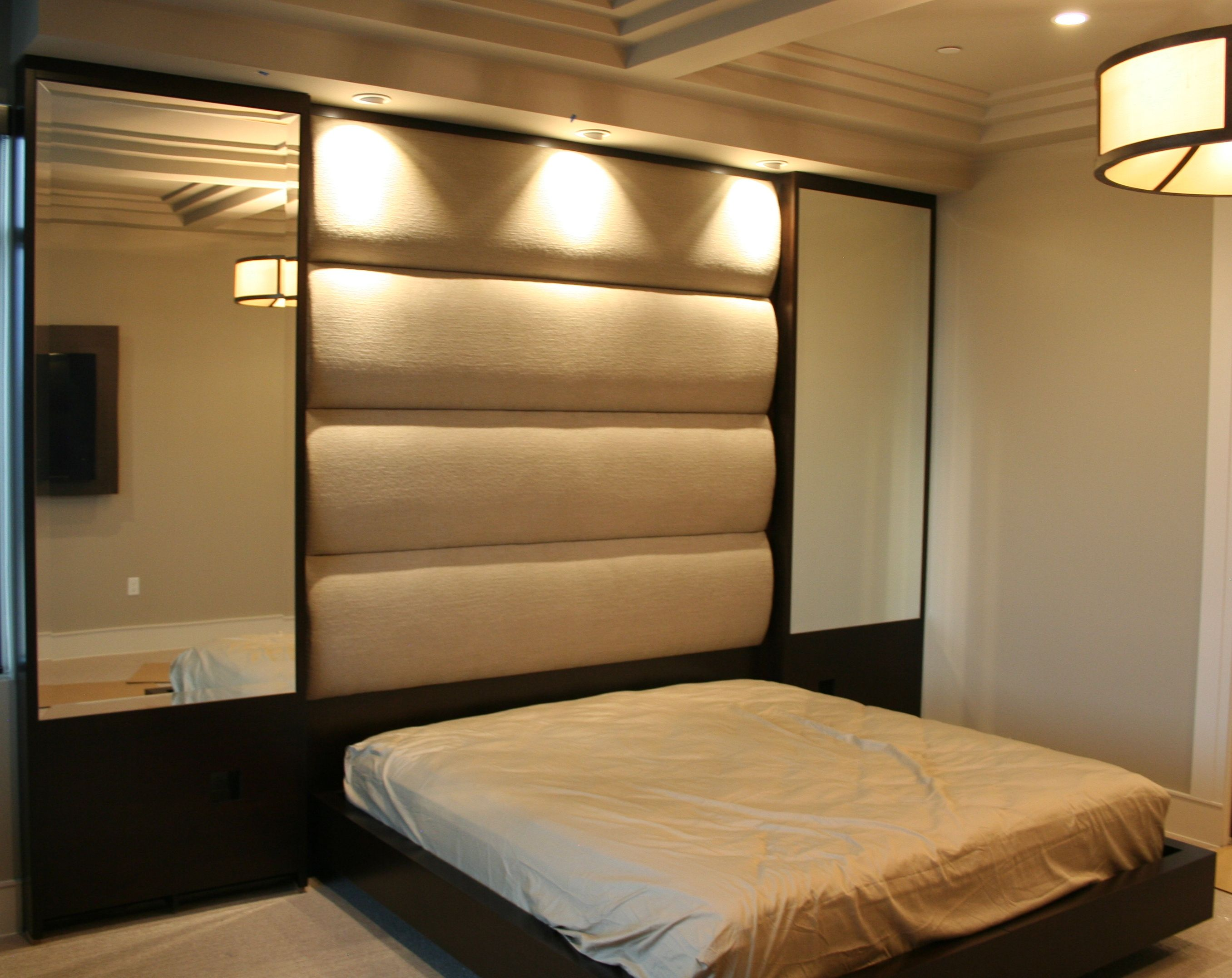 Built As Components And Installed Onsite This Bed Features Beveled Mirror Wall Panels Upholstered Headboard A Modern Style Base