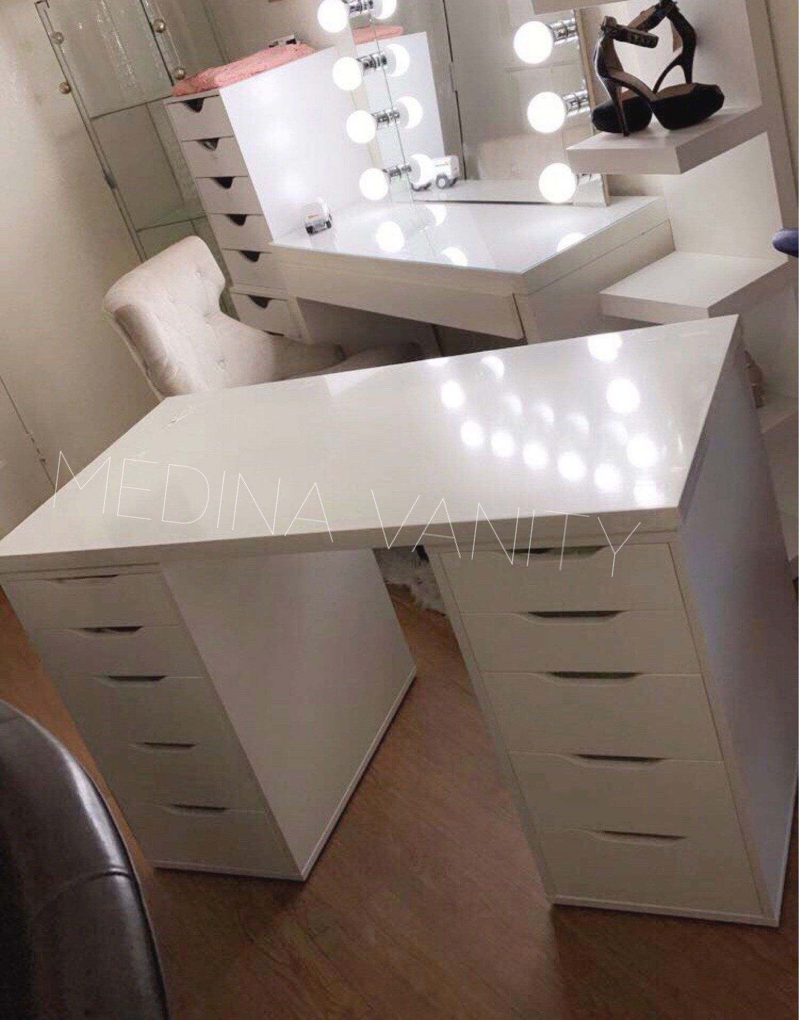 Vanity Table with two 5 drawer dressers Medina Vanity