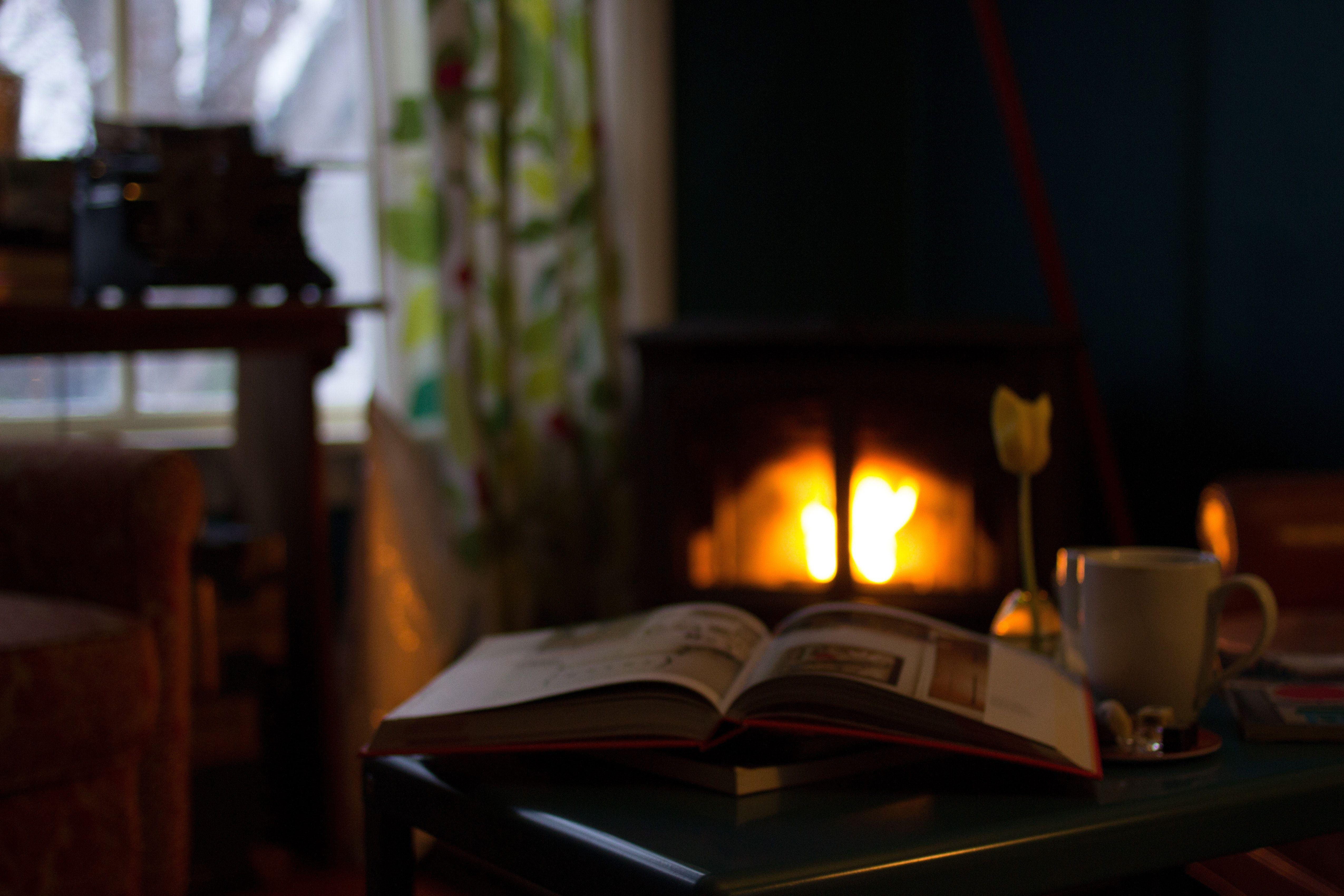 book cozy warm fireplace fire den read firelight interior