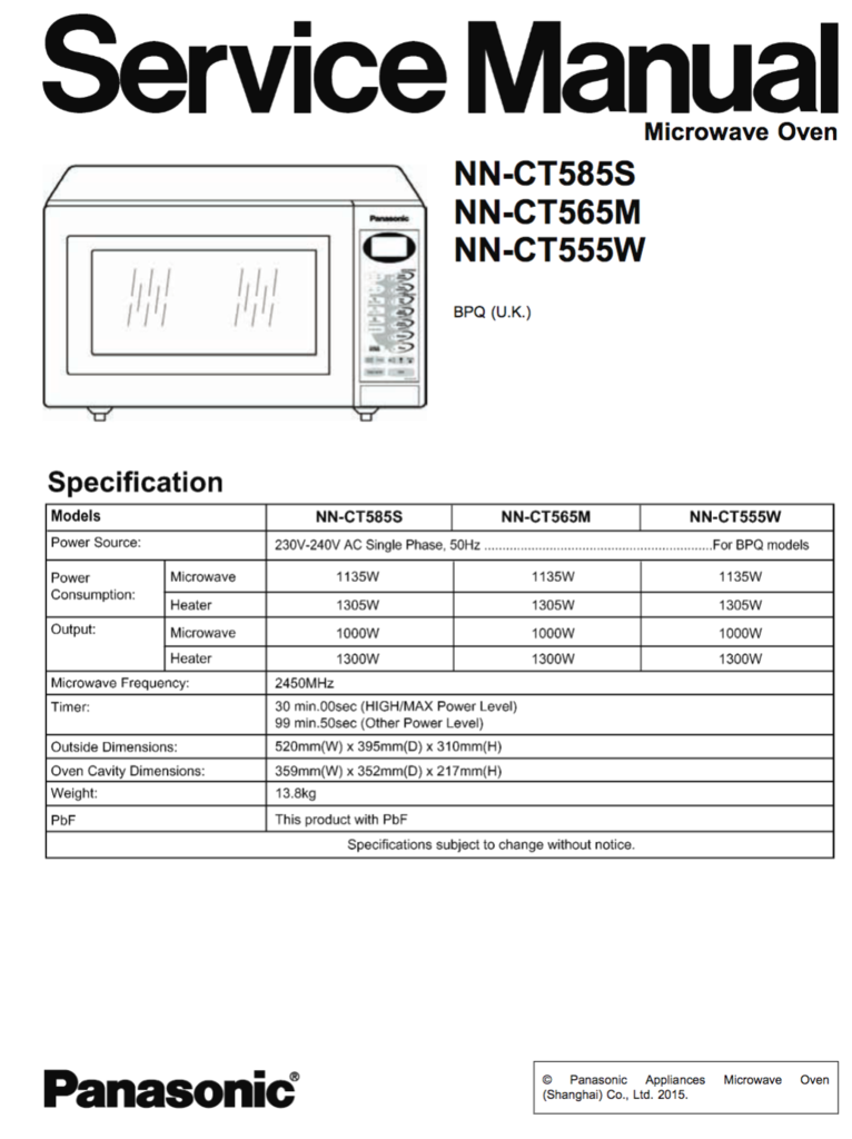 Panasonic NN CT585S NN CT565M NN CT555W